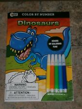 New Favorite Dinosaurs Color by Number Coloring Book with markers!