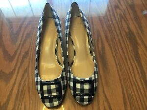 "Women's ""Crown & Ivy"" beckie Buckle 1"" Heels Pumps, Size 7.5M, Plaid Fabric/navy"