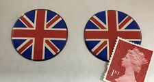 2 x Union Jack Flag Stickers Domed Finish Red, Blue & Chrome 30mm Diameter