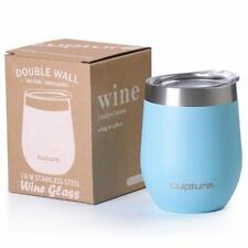 Cupture 12oz 18/8 Stainless Steel Wine Glasses Vacuum Insulated Tumbler with Lid