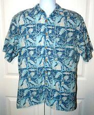 Reel Legends Fishing Shirt Short Sleeve Fish Tropical Hawaiian Blue Vented