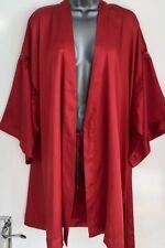 Victoria's Secret Red Satin Lace Trim Kimono Robe Dressing-Gown Cover-Up M/L