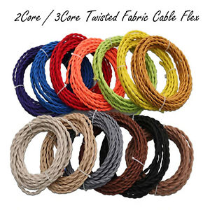 2/ 3 Core Twisted Vintage Style Coloured TWIST Braided Fabric Cable Lamp Flex UK
