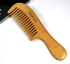 AU Peachwood No-static Healthy Wide Teeth Curly Hair Massage Handle Wooden Comb