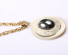 Gold Tone Pendant and Necklace, White Enamel and Large Moonstone, 1940s Vintage