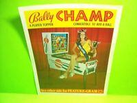 Bally CHAMP Original 1972 Flipper Arcade Game Pinball Machine Promo Sales Flyer