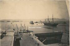Egypt 1869-70 entrance Suez canal Ships, harbour, gunboat Wanderer (?)