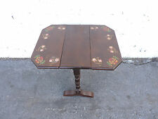 Small Drop Leaf Hand Painted Flowers Side End Table 8252