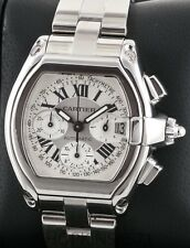 Mens Cartier Roadster Chronograph SS XL 2618 White Dial Automatic