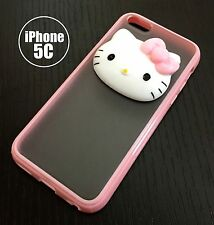For iPhone 5C - HARD RUBBER TPU GUMMY SKIN CASE COVER PINK CLEAR 3D HELLO KITTY