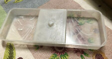 Vintage White Marble Plastic Vanity Tray - 3 Compartment with Lid - Melamine?