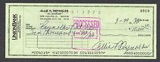 Allie Reynolds New York Yankees Signed Check (Dec'd 1994) $10,000.00