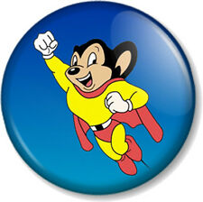 Mighty Mouse 25mm Pin Button Badge Old School Skool Cartoon Retro Kids TV 1980s