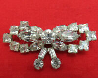 Vintage Rhinestone Bow Brooch Pin Clear Crystal Silver Prong Set Wedding 552k