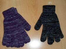 2 paar Damen Strickhandschuhe Handschuhe Schwarz + Lila Lurex Gr. S