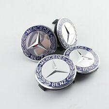 4 TAPPI COPRIMOZZO Mercedes Benz A B E C CLA CLK ML S ORIGINAL blu argento 75mm