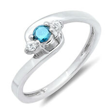 0.25 CT Sterling Silver Blue & White Diamond Ladies 3 Stone Bridal Promise Ring