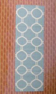 Rugs Dhurrie Sky Blue Color Kilim carpet Corridor Home Décor Open Design 2.6'x8'