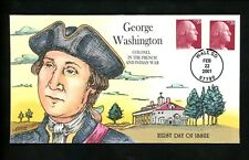 US FDC #3483 Collins HP Hand Painted 2001 Wall SD George Washington