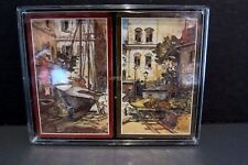 Lionel Barrymore Playing Cards Boxed Set of 2 Sealed Decks Boats Fishing Village