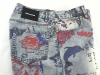 PINK DOLPHIN Denim Shorts Liberty Scratch Graffiti Red Blue Gray Men's 32 $72 Ne