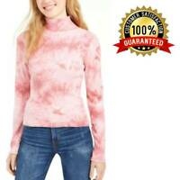 Planet Gold Juniors' Tie-Dye Mock Turtleneck Fitted Cotton Women Top Medium Pink