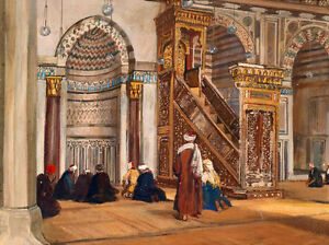 """Huge Oil painting portraits Arab people Worship in the mosque in the morning 36"""""""