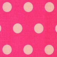 Cerise Pink Polycotton Fabric with Medium White Spot (Per Metre)