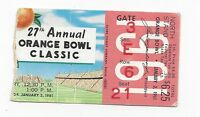 1961 Orange Bowl football ticket stub Missouri Tigers v Navy Midshipmen