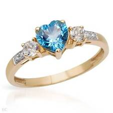 STUNNING Solid 10k Yellow Gold Genuine Topaz Heart Ring Size 7 / O