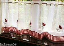 """POPPY GINGHAM  RESTAURANT KITCHEN CAFE EMBROIDERED CURTAIN DRAPE PANEL 60"""" X 24"""""""