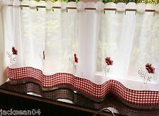 COQUELICOT VICHY RESTAURANT cuisine café brodé panneau rideau drapé 152cmX61cm