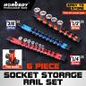 "Socket Trays Sliding Rail Holder Rack Organizer Double Sided 1/4"" 3/8"" 1/2"" ABS"