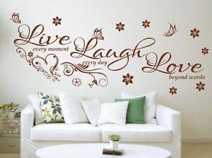 Wall Quote Live Laugh Love wall art vinyl home decor BIG