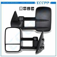 Power Heated Black Towing Mirrors Pair For 07-14 GMC CHEVROLET Silverado Sierra
