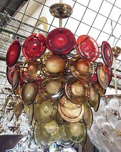 GINO VISTOSI , VINTAGE 60·´S MURANO GLASS CHANDELIER .