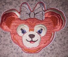DISNEY DUFFY BEAR SHELLIE MAY PINK PEACH WITH BOW PATCH APPLIQUE IRON ON
