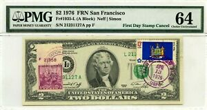 $2 DOLLARS 1976 FIRST DAY STAMP CANCEL NEW YORK LUCKY MONEY VALUE $3000