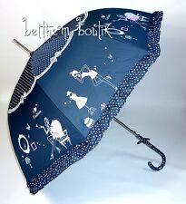 Goth : Parapluie Cloche & Canne BLEU Fashion à Pois Noeud Manga Lolita Gothique
