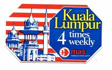 Vintage Airline Label Sticker MALAYSIAN AIRLINES MAS Kuala Lumpur service