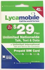 Lycamobile $29 Plan Preloaded 2 Months SIM  4GB 4G LTE Data Unlimited Talk Text