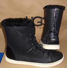 UGG Australia Black Croft Exotic Velvet Leather Sneakers Size US 8.5 NIB 1014493