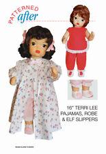 "16 "" Terri Lee Doll Pajamas, Robe & Elf Slipper Clothing Pattern"