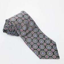 Robert Talbott Best of Class Black Silver Floral Medallion Woven Silk Neck Tie