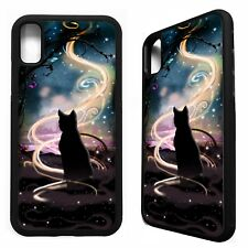 Black cat magic witch stars kitten graphic art case cover for iphone X XS Max XR