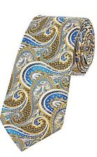 Duchamp London Silk Necktie Paisley Formal Tie Gold Blue rrp £75 CS077 MM 03