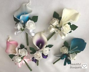 Artificial wedding flowers bouquets buttonhole ladies pin corsage purple