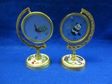 2 Chinese Cloisonne Enamel Swivel Frames W/ Embroidered Textiles Panda Peacock