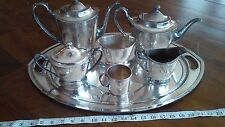 Huge TEA Coffee Set Derby S.P.Co WM Mounts EPNS Silver Hand Beaten Art Deco 1698