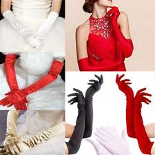 "White Black Red Beige EXTRA LONG 21"" Satin Opera Evening Gloves Stretch Wedding"